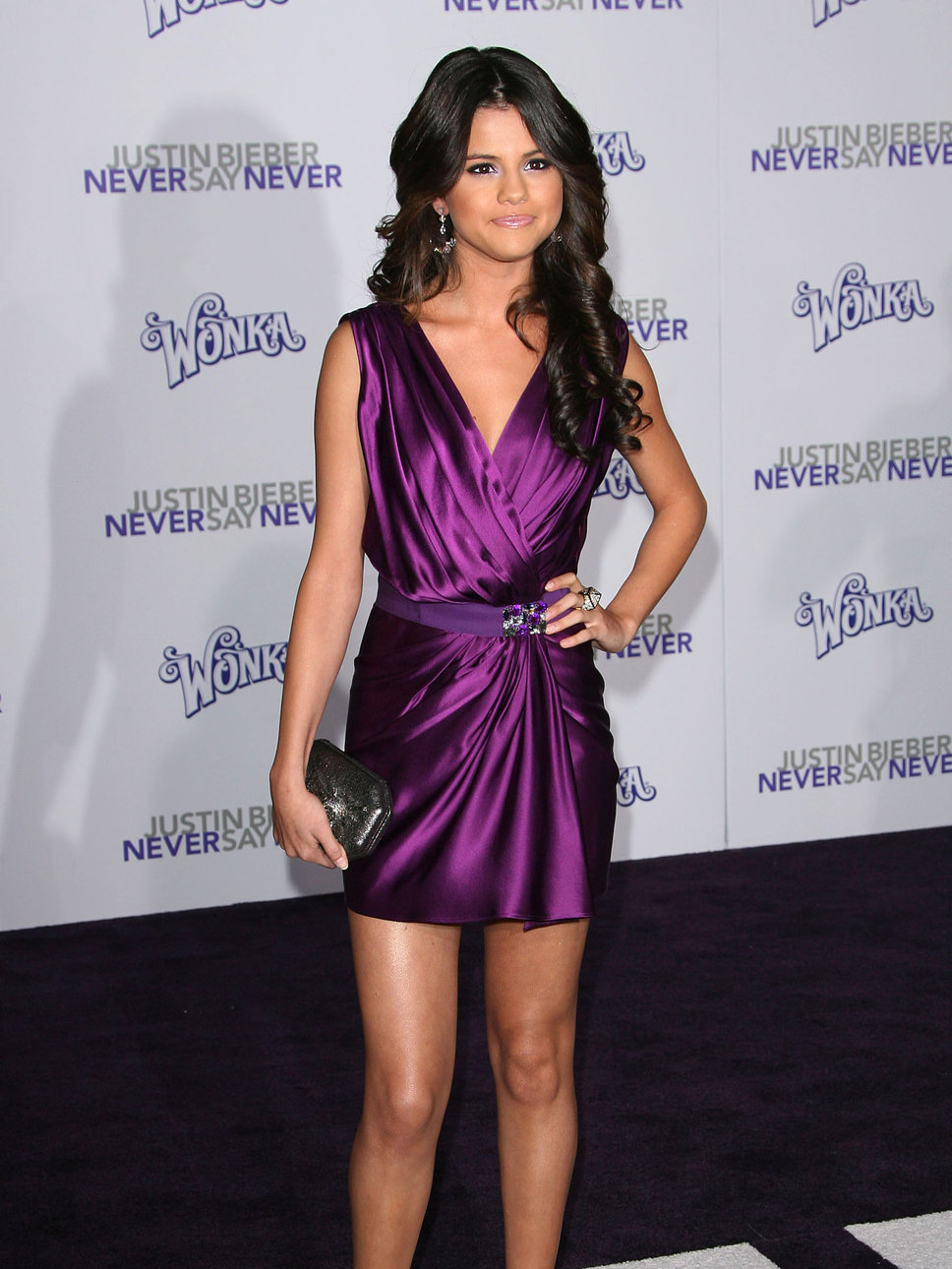 Selena Gomez Purple Satin Mini Skirt Black Shimmer Clutch