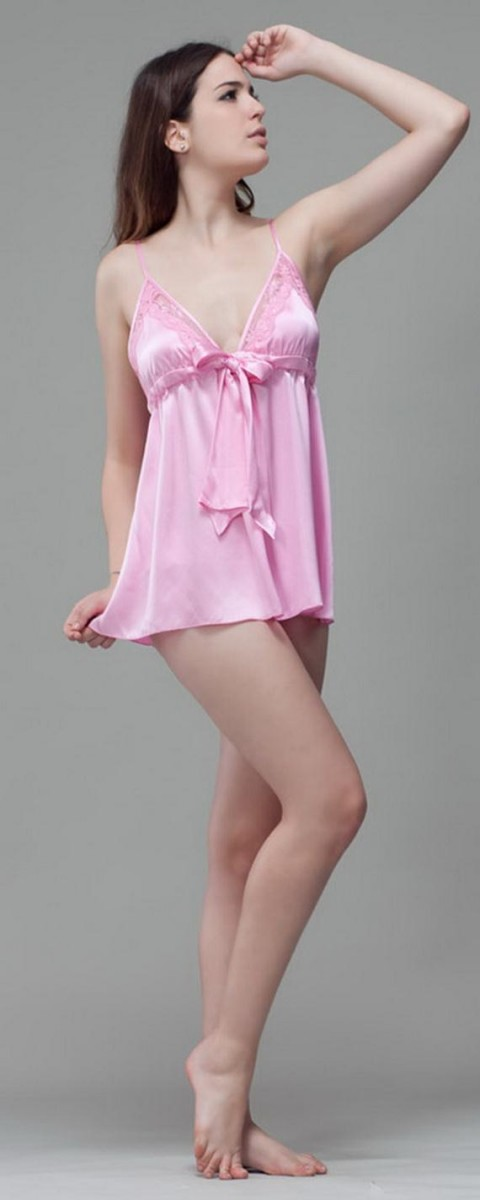 Silk Short Night Wear Nighty Dress 2