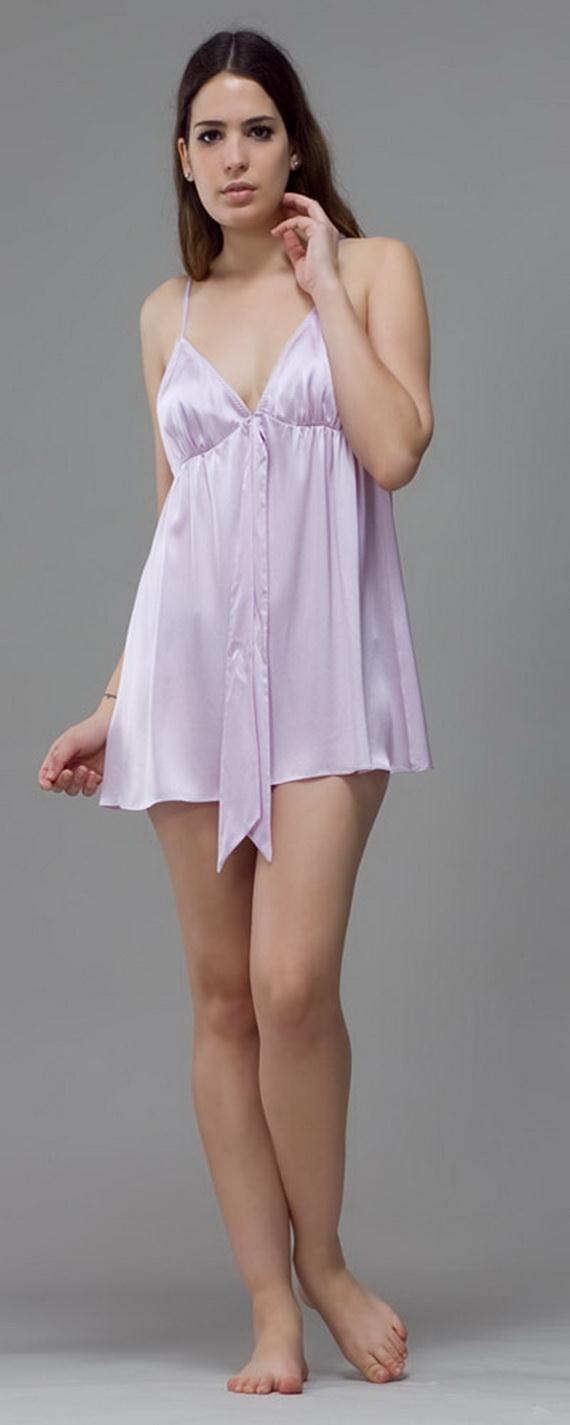 Silk Short Night Wear Nighty Dress 4