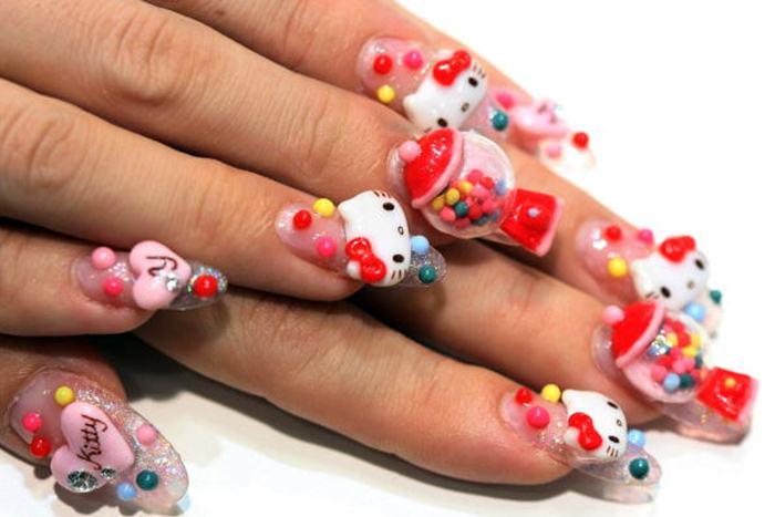 3d nail design hello kitty she12 girls beauty salon for 3d nail art salon