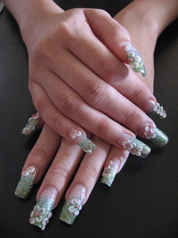 3d Flowers Acrylic Nails Design She12 Girls Beauty Salon