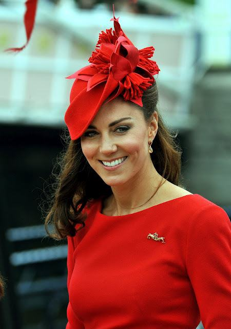 Kate Middleton In Red Dress And Hats 12