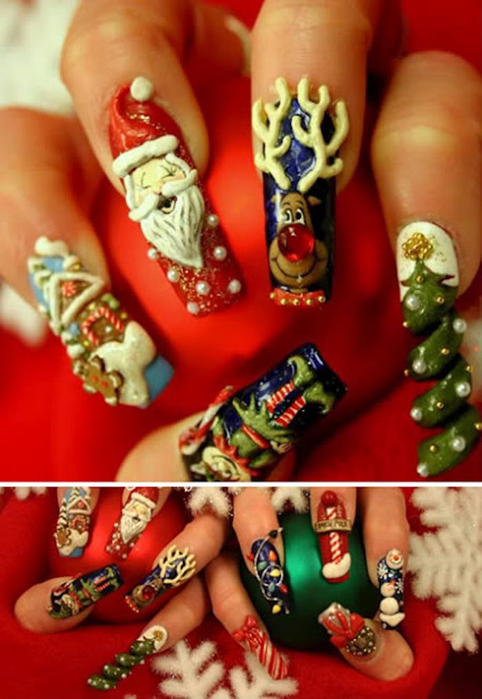 Christmas Nail Art French Manicure Red With White: Christmas 3D Beats Nail Art Designs