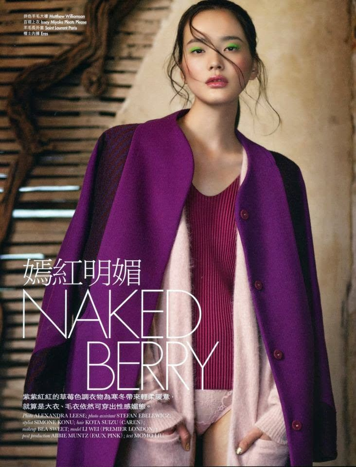 Li Wei In Elle Shimmery Makeup Photoshoots